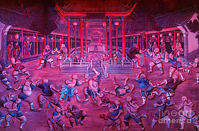 Artwork Of Shaolin Monks Practicing In Front Of The Temple Print by Oleksiy Maksymenko