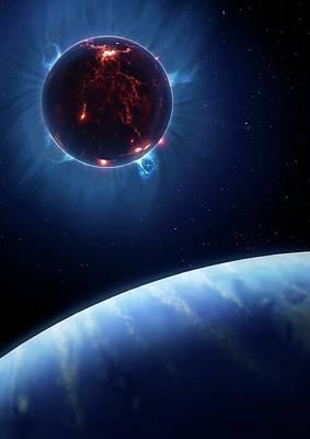 Extrasolar Photograph - Artwork Of Volcanic World Eclipsing Star by Mark Garlick