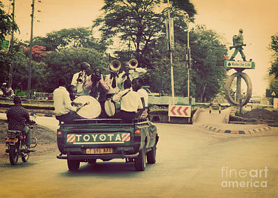 Road Photograph - Arusha. Tanzania. Africa. A Group Of Young Men Celebrating Their Graduation by Michal Bednarek