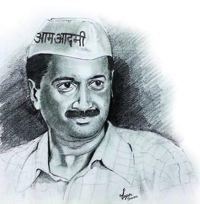 Democracy Drawing - Arvind Kejriwal Aap Sketch  by Mayur Sharma