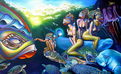 Ocean Turtle Painting - As Above So Below by Patrick Anthony Pierson