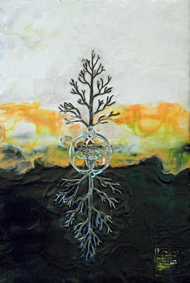 Root Of Mixed Media - As Above So  Below by Sally Clark