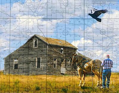 Judy Wood Digital Art - As The Crow Flies Old House Version by Judy Wood