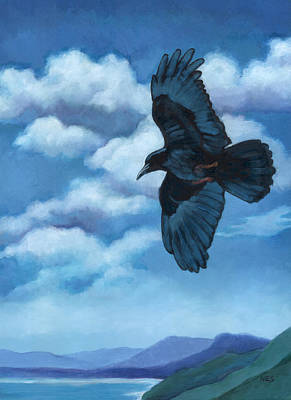 Starlings Painting - As The Crow Flies... by Rebecca Ives