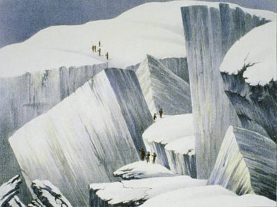 Explorer Drawing - Ascending A Cliff, From A Narrative by English School