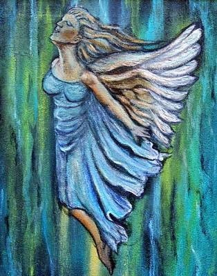 Spiritual Portrait Of Woman Painting - Ascending Angel by The Art With A Heart By Charlotte Phillips