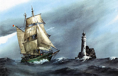 Asgard Rounding The Fastnet  West Cork Print by Val Byrne