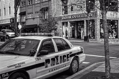 Asheville Pd Car 54 In Black And White Print by Greg and Chrystal Mimbs