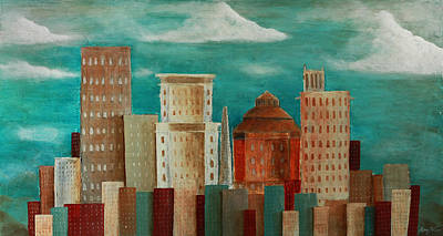 Asheville Painting - Asheville Skyline by Gray  Artus