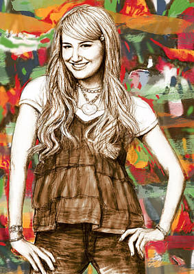 Musical Film Drawing - Ashley Tisdale - Stylised Drawing Art Poster by Kim Wang