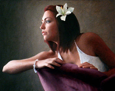 Diamond Bracelet Painting - Ashley With Flower by Charles Pompilius
