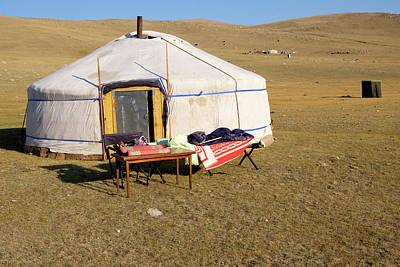 Yurts Photograph - Asia, Mongolia, Bayan-olgii, Setting by Emily Wilson