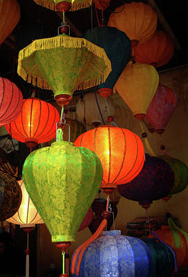 Handcrafted Photograph - Asia, Vietnam Colorful Fabric Lanterns by Kevin Oke