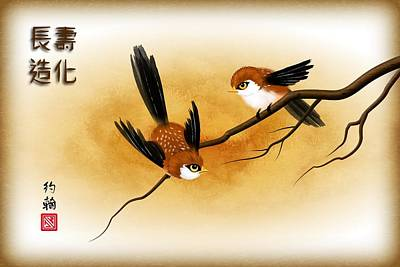 Asian Art Two Little Sparrows Print by John Wills