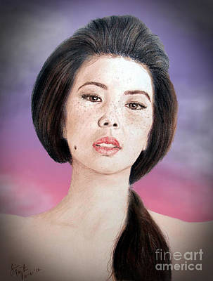 Beauty Mark Drawing - Asian Beauty Fade To Black Version by Jim Fitzpatrick