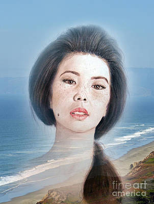Asian Beauty Fade To Ocean Photograph Print by Jim Fitzpatrick