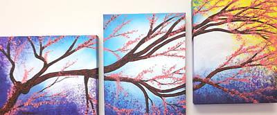 Multimedia Mixed Media - Asian Bloom Triptych by Darren Robinson