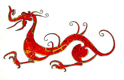 Asian Dragon Print by Michael Vigliotti