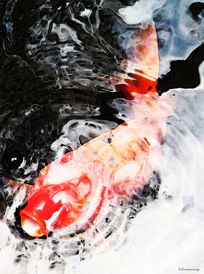 Asian Koi Fish - Black White And Red Print by Sharon Cummings