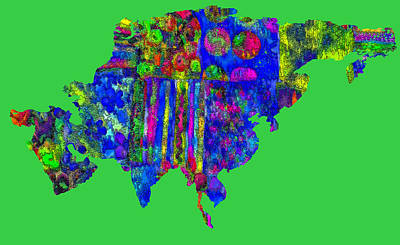 World Map Poster Photograph - Asian Textiles by Larry Bishop