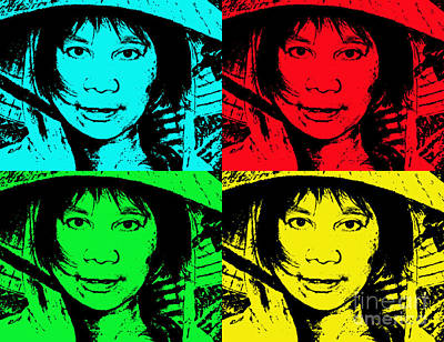 Filipina Drawing - Asian Woman Wearing A Conical Hat Altered by Jim Fitzpatrick