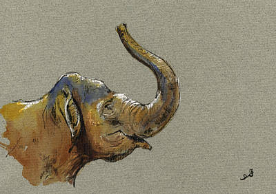 Nature Study Painting - Asiatic Elephant Head by Juan  Bosco