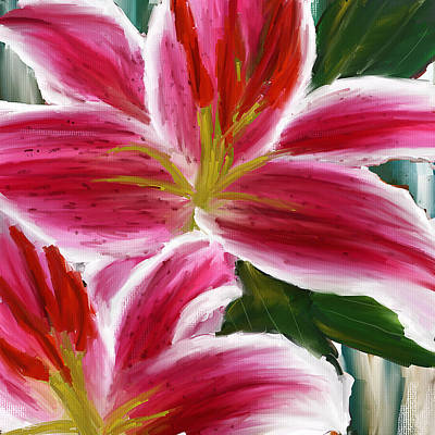 Asiatic Lily- Asiatic Lily Paintings- Pink Paintings Print by Lourry Legarde