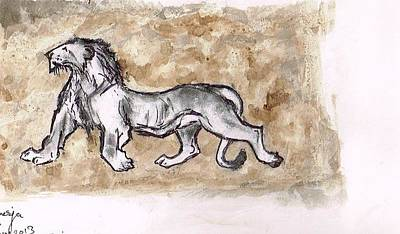 Asiatic Lion Print by Sumit Banerjee