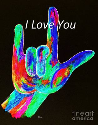 Asl I Love You On Black Print by Eloise Schneider