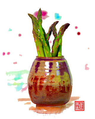 Asparagus Digital Art - Asparagus Soaking In Wine by Ken Evans