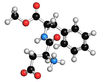Aspartame Artificial Sweetener Molecule Print by Molekuul