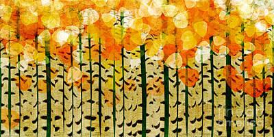 Aspen Tree Fall Colors Digital Art - Aspen Colorado Abstract Panorama 4 by Andee Design