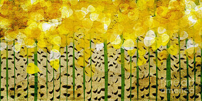 Abstract Digital Mixed Media - Aspen Colorado Abstract Panorama by Andee Design