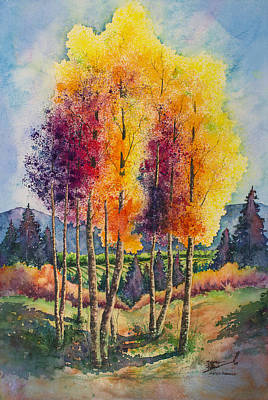 Mountain Valley Painting - Aspen Overlook by Michael Bulloch