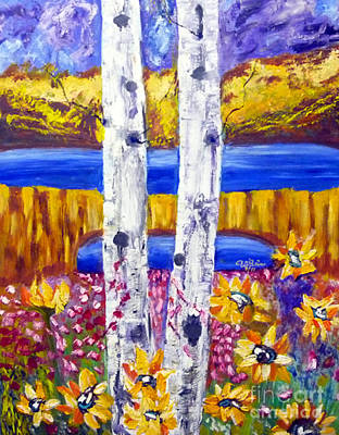 Tolan Painting - Aspen Tree And Sun Flower by To-Tam Gerwe
