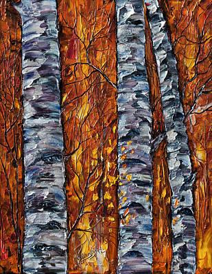 Brunch Painting - White Trees  Original Oil Painting  by OLenaArt Lena Owens