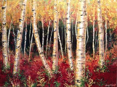 Woodlands Scene Mixed Media - Aspen Woodlands by Amy Wyatt