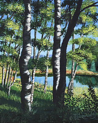 Sunlit Tree Painting - Aspens And Pond by Timithy L Gordon