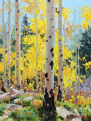 Aspens In Golden Light Print by Gary Kim