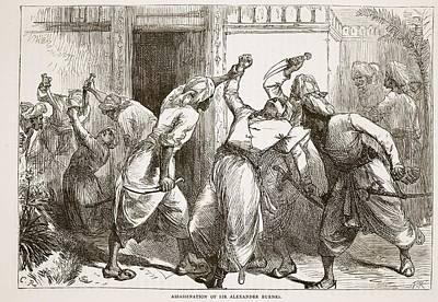 Afghanistan Drawing - Assassination Of Sir Alexander Burnes by English School