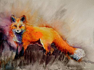 Red Fox Painting - Assessing The Situation by Beverley Harper Tinsley