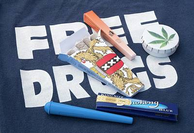 Assorted Cannabis Products Print by Adam Hart-davis