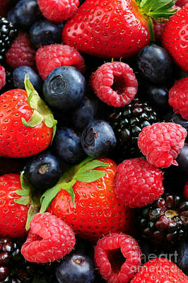 Raspberry Photograph - Assorted Fresh Berries by Elena Elisseeva