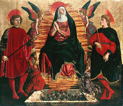 Andrea Del Castagno Painting - Assumption Of Mary With Sts Minias And Julian by Andrea del Castagno