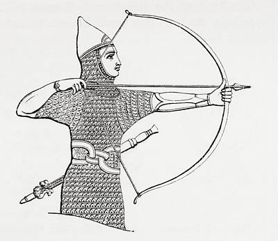 Assyrian Archer Wearing A Cuirass.  From The Imperial Bible Dictionary, Published 1889 Print by Bridgeman Images