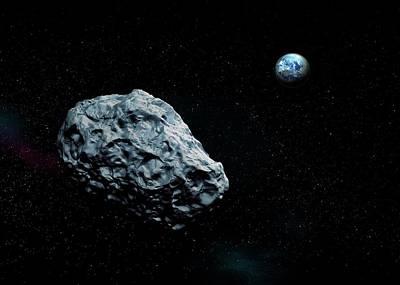 Asteroid Approaching Earth Print by Mikkel Juul Jensen