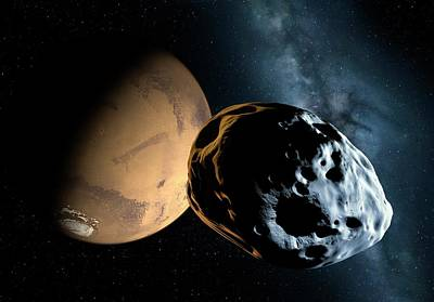 Asteroid Approaching Mars Print by Detlev Van Ravenswaay
