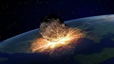 Space Photograph - Asteroid Hitting Earth by Andrzej Wojcicki