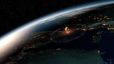 Asteroid Impact In Europe Print by Joe Tucciarone