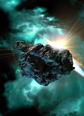 Asteroid In Outer Space Print by Victor Habbick Visions